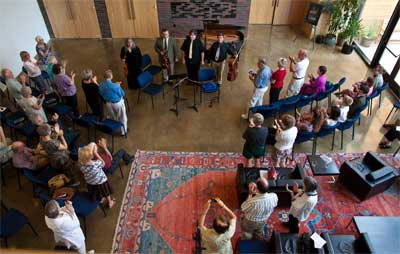 Standing ovation for an intimate chamber music concert at the Park City International Music Festival (Park City Music Festival) performed at Temple Har Shalom - a favorite Park City concert venue